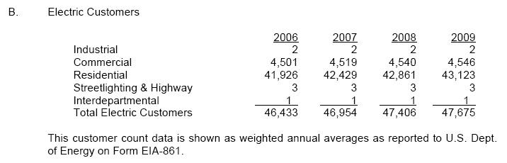 RPU 2009 - Electric Customers 2006-2009