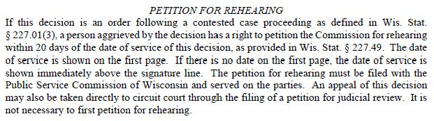 Petition for Rehearing